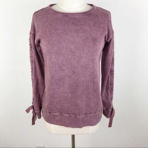 Rock & Republic Acid Wash Grommet Sweatshirt Small